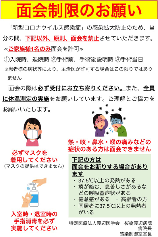 ロナウイルス面会制限について